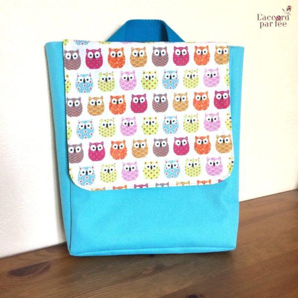 sac maternelle turquoise hiboux