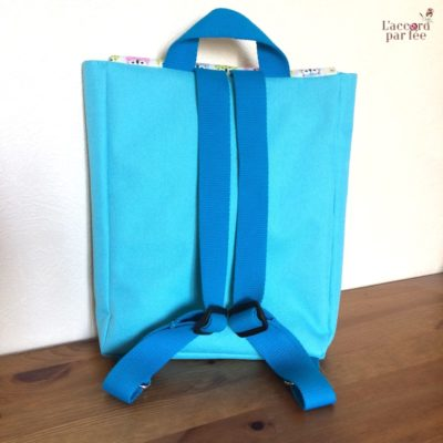 sac maternelle turquoise hiboux dos