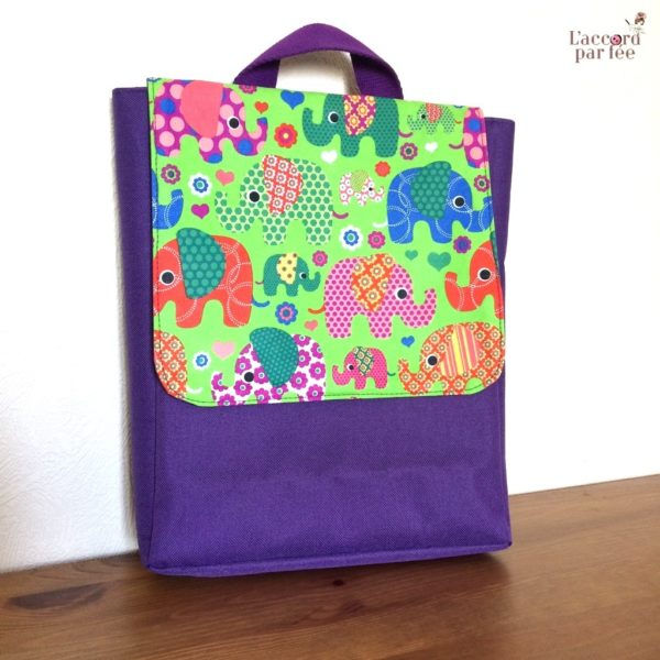 sac maternelle violet elephants