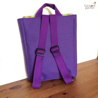 sac maternelle violet elephants dos