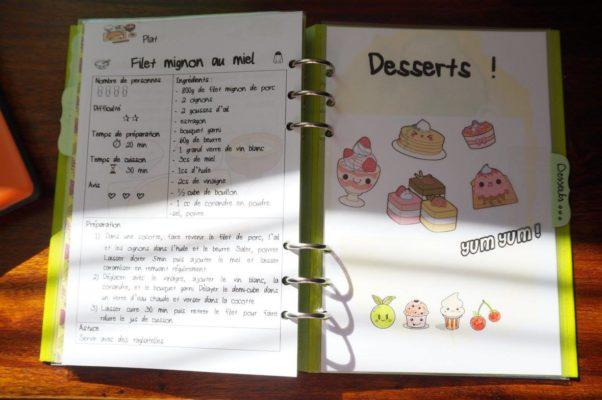 Filofax clipbook recettes desserts