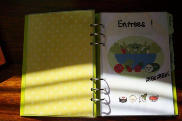 Filofax clipbook recettes entrées
