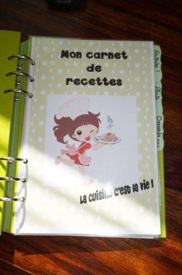 Filofax clipbook recettes page de garde