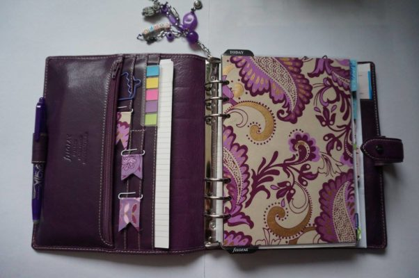 Filofax malden purple A5 ouvert dashboard