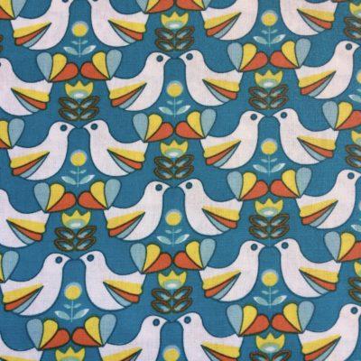 coton enduit oiseaux bleu canard retro