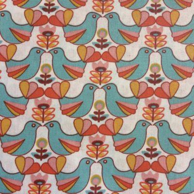 coton enduit oiseaux orange retro