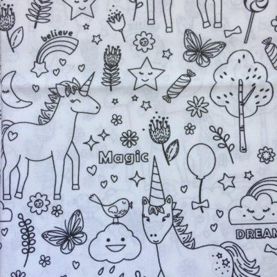 tissu a colorier licornes