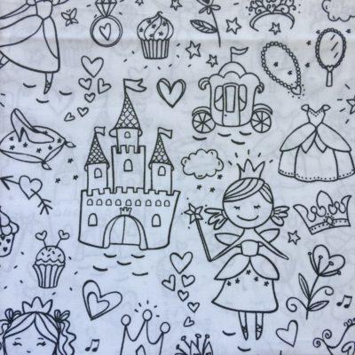 tissu a colorier princesse