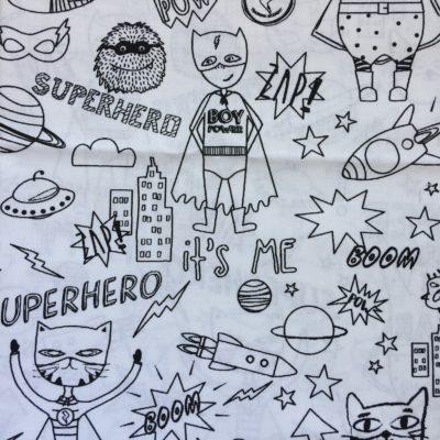 tissu a colorier super hero