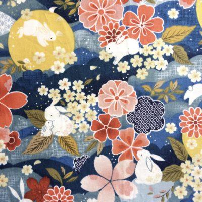 tissu pour sac bunny flowers