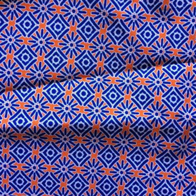 tissu pour sac ethnique etoile bleu orange