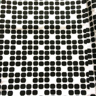 tissu pour sac géomtrique pois noir fond blanc