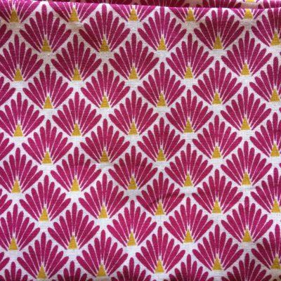tissu pour sac japonais eventail prune