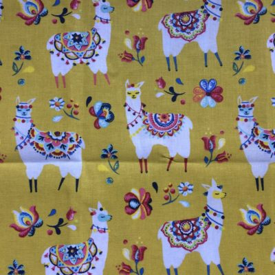 tissu pour sac lamas fond moutarde