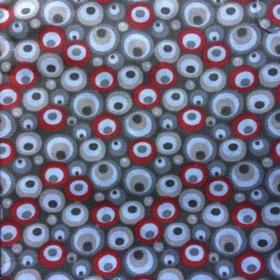 tissu pour sac pois rouge gris beige