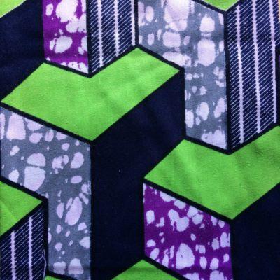 tissu pour sac wax vert argent violet