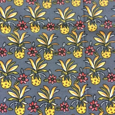 tissu sac ananas fleurs gris