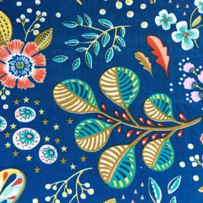 tissu sac ancolies fond bleu canard