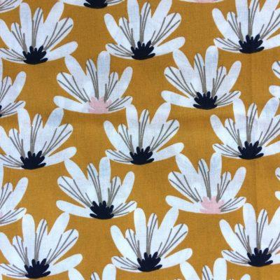tissu sac fleurs moutarde