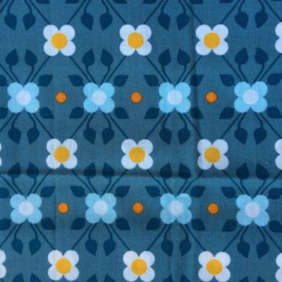 tissu sac fleurs retro bleu