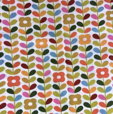 tissu sac fleurs retro orange