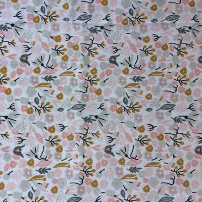 tissu sac fleurs rose gris