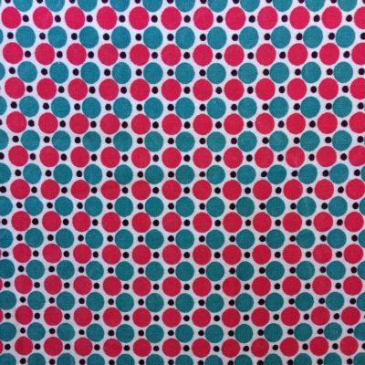 tissu sac pois turquoise fuchsia