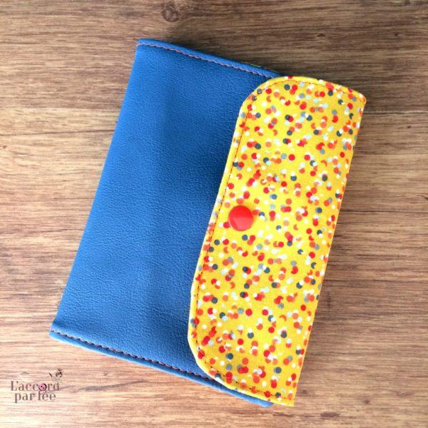 Pochette a pharmacie simili jean coton moutarde