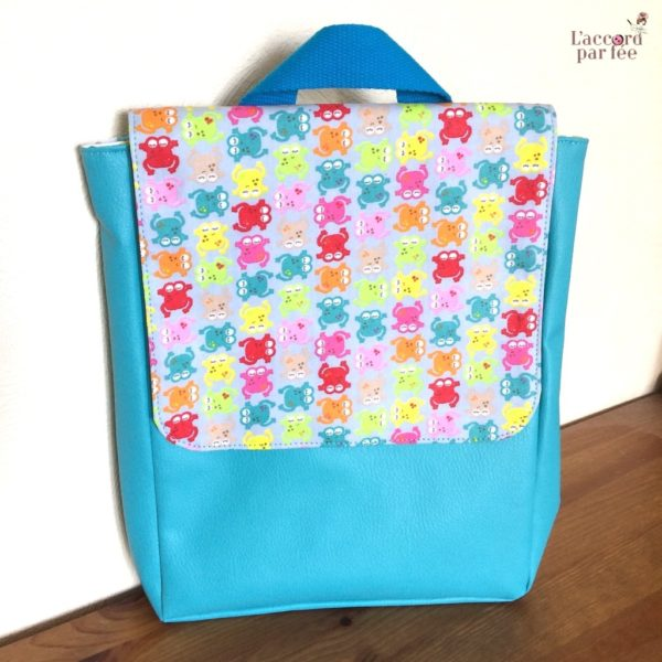 sac maternelle turquoise grenouilles
