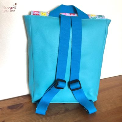sac maternelle turquoise grenouilles dos